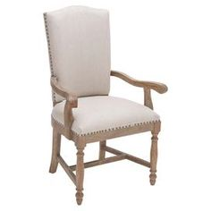 """Upholstered arm chair with a wood frame and nailhead trim.     Product: ChairConstruction Material: Wood and fabricColor: Vintage white Features:Turned front legs Nailhead trim Dimensions: 42"""" H x 19"""" W x 25"""" D"""