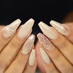 Gold glitter is the easy way to create shimmer manicure that will be   perfect for any occasion. Click to see more nail art ideas. #nailart   #naildesigns #goldglitter Matte Nails, Gold Acrylic Nails, Gold Sparkle Nails, Beige Nails, Gel Nails With Glitter, Nude Sparkly Nails, Nail Designs With Glitter, Gold Wedding Nails, Acrylic Nails For Fall