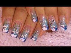 """"""" Dreaming Of Swans """" Blue Ombre Nail Art Design Tutorial Video Coral Nail Art, Zebra Nail Art, Matte Nail Art, Animal Nail Art, Gold Nail Art, Glitter Nail Art, Nail Art Designs, Black Nail Designs, Black Ombre Nails"""