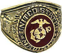 Marine Corps Ring: Officially licensed U. Marine Corps pure rhodium plated or gold plated ring. Select metal type and size at time of ordering. One ring per order.