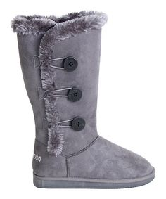 24$Sweet and snuggly, there's always a time and place for a comfy pair of boots. Faux fur trim and big decorative buckles make this pair super-stylish. 0.75'' heel15'' circumference14'' shaftPull-onMan-made upperFleece liningEVA soleImported