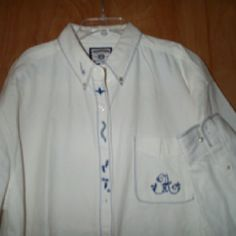 White denim shirt with blue embroidery