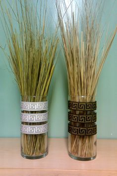 Cool idea for an Egyptian themed party! Spray glue decorative ribbon onto vases and fill with grasses. (put pretty blue or under the sea ribbon instead for Selena's Prom) Egypt Decorations, Greek Party Decorations, Office Decorations, Cleopatra, Egyptian Themed Party, Toga Party, Vbs 2016, Thinking Day, Kids Church