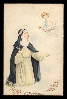 antica cartolina SANTA ROSA DA LIMA