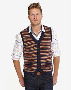 #dad #Joules RALEIGH Mens Knitted Waistcoat, Navy. Bursting with Fair Isle style! With a shirt underneath, there's no better way of achieving a relaxed country look.