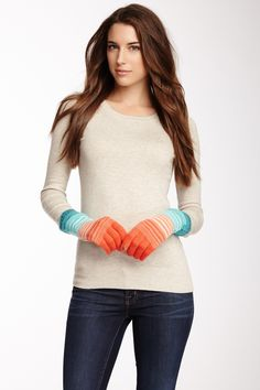 Ombre Stripe Belted Tech Cashmere Gloves