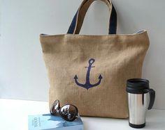 Пляжная сумка. Принт якорь