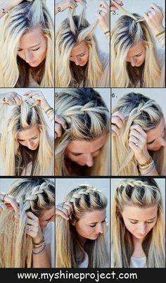 !!! Quick Easy Hairstyles, Braided Headband Hairstyles, Cute Hairstyles For Summer, Fast Hairstyles, Heatless Hairstyles, School Hairdos, Easy Hairstyles For Medium Hair For School, Gorgeous Hairstyles, Braided Ponytail