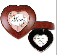 Mom Woodgrain Mini Heart Music Box / Jewelry Box Plays You Light Up My Life *** Check this awesome product by going to the link at the image.