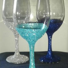 DIY glitter wine glasses @Christina Mulvihill or these?