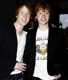Rupert and his stunt double for Harry Potter! His stunt double actually kind of looks like Ron!