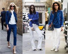 Eu, para buscar inspiração fashion, sempre dou uma olhada em sites de street style gringo. Geralmente escolho os looks mais básicos, sem firulas nem muito modismo. Ok, alguma trend sim, mas nada que contenha muita informação… Sou da turma do basiquinha style. E uma das minhas combinações preferidas é o azul com branco. Se tiver …