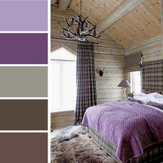 Esprit rustique dans une chambre à coucher moderne en violet
