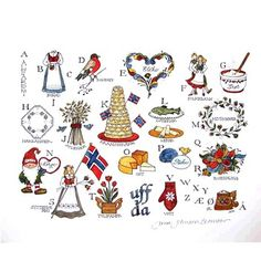 Norwegian Alphabet Print by Jana Johnson Schnoor Scandinavian Folk Art, Scandinavian Countries, Scandinavian Christmas, Alphabet Drawing, Alphabet Print, Santa Lucia, Lofoten, Norwegian Christmas, Norway Christmas