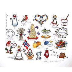 Norwegian alphabet drawings. How cute!