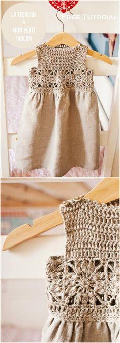 Lindo vestido con técnica mixta canesu tejido a crochet y el faldón con tela.