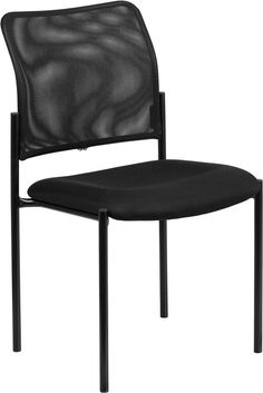 Flash Furniture GO-515-2-GG Black Mesh Comfortable Stackable Steel Side Chair