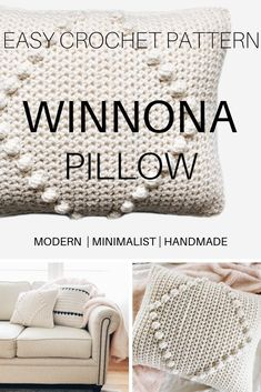 The Winnona modern chunky bobble pillow easy crochet pattern. Make for your cozy modern boho home decor or give as a handmade gift. Crochet Pillow Patterns Free, Modern Crochet Patterns, Afghan Patterns, Square Patterns, Crochet Cushion Cover, Crochet Cushions, Cute Crochet, Knit Crochet, Chunky Crochet