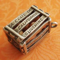Vintage California Sunshine Orange Crate Sterling Silver Charm La Hollywood SF from A Genuine Find