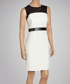 Take a look at this Ivory & Black Sheer Panel Dress - Women by Sandra Darren on #zulily today!
