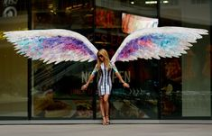 photographed with angel wing graffiti Angel Wings Art, Angel Art, Murals Street Art, Street Art Graffiti, Colette Miller Wings, Interactive Walls, City Of Angels, Urban Art, Art Projects