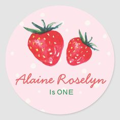 Watercolor Strawberry Personalized Baby Shower Classic Round Sticker | Zazzle.com Pop Stickers, Thank You Stickers, Round Stickers, Custom Stickers, Baby Shower Party Supplies, Baby Shower Parties, Shower Favors, Baby Shower Wrapping, Free Baby Shower Printables