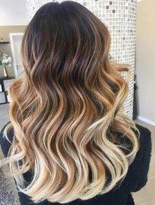 Caramel and Blonde Balayage Highlights for Dark Brown Hair