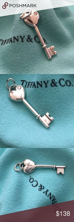 Tiffany and Company Diamond Heart Charm Pendant. Particulars: Size & Measurements: The key pendant is 1.25 inches (including bail). Metal & Hallmarks: Tiffany & Co. / 925   If you have any questions, please message me at any time. Tiffany & Co. Jewelry
