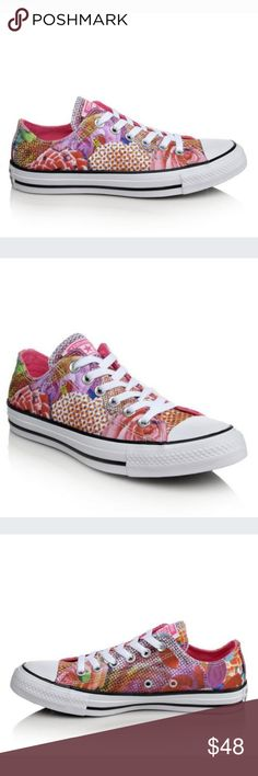 Converse Chuck Taylor Neon Pink Floral Print sneakers feature floral printed  canvas uppers iconic rubber toe cap Side vent holes All-Star logos at the tongue and heel Lace-up closure with metal eyelets for a secure fit Soft fabric lining Cushioned insole  Original Box included Converse Shoes