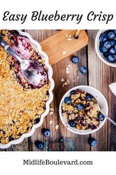 Easy Blueberry Crisp Recipe Just In Time For Summer Delicious Dinner Recipes, Best Dessert Recipes, Pie Recipes, Easy Desserts, Snack Recipes, Yummy Food, Yummy Treats, Sweet Treats, Summer Desserts