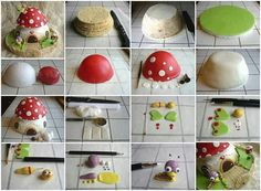 Mushroom Cake Tutorial - Really cute. Cake Decorating Tutorials, Cookie Decorating, 3d Cakes, Cupcake Cakes, Sweets Cake, Mushroom Cake, Mushroom House, Toadstool Cake, Decors Pate A Sucre