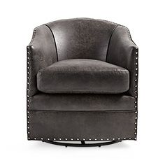 """Giles 28"""" Upholstered Swivel Chair in Palance Steel- by front window"""