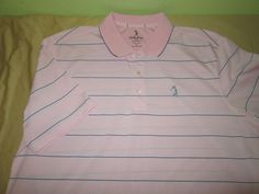 Mens  BOBBY JONES PERFORMANCE  Golf  Shirt  Sz XL - Pink Striped #BobbyJones #PoloShirt
