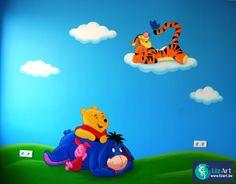 Muurschildering Pooh met Tijgertje in de wolken