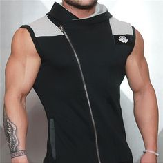 Muscle Men sleeveless zip hoodie for men are made with 100% cotton and fit great. If you want a hoodie for the gym, this is a perfect choice. Order One Size Larger - as these hoodies run a bit small.