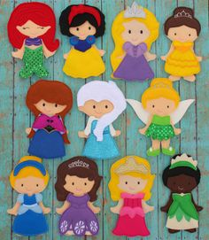 Felt Princess Non Paper Dolls SET--Come with ONE doll and TWELVE outfits--Great for Church, Cars, or Quiet Play