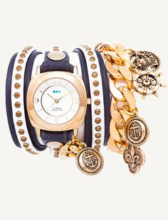 Gold Odyssey Case. Navy/White Gold Stud Layer leather strap with gold rivets. Gold Nautical Charms.