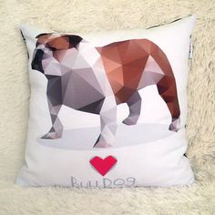 Decorative Pillow I love English Bulldog Biscuit by PSIAKREW