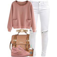 Pink Sweater, White Distressed Jeans, Pink Pumas, Gold Watch, Creme Handbag.
