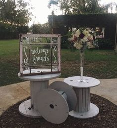 Wonderful #event #welcome station with #reclaimed #spools and a #repurposed #window! Great for a #retro #wedding!