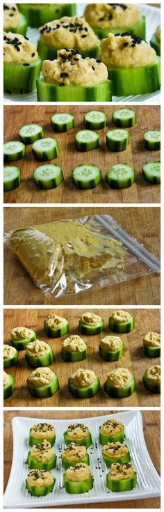Hummus and Cucumber Appetizer Bites with Sesame Seeds is an easy, healthy, and delicious appetizer for any kind of party. [from KalynsKitchen.com] #HealthyAppetizer