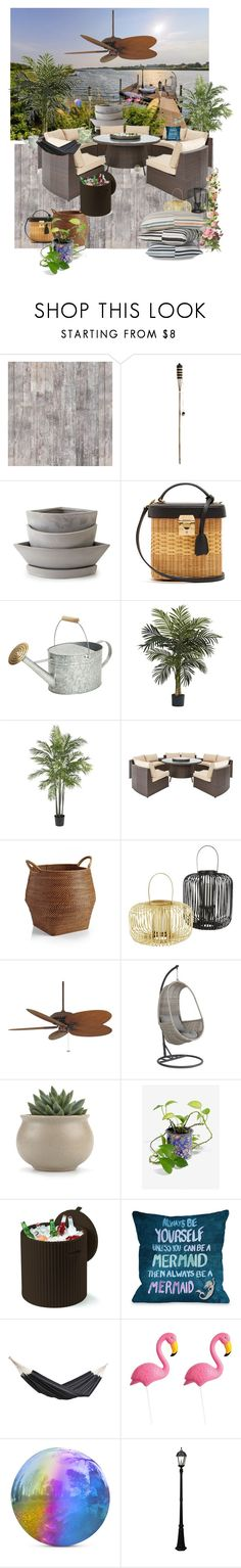 """Beach Patio - VII"" by mary-kay-de-jesus ❤ liked on Polyvore featuring interior, interiors, interior design, home, home decor, interior decorating, INC International Concepts, Holly's House, Mark Cross and Nearly Natural"