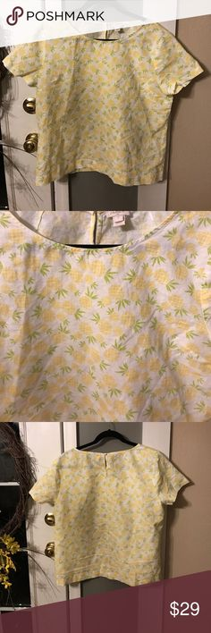 J. Crew Pineapple Top Excellent Condition, only worn once. Pic of materials and care in photos. Measures approximately 24 inches in length. Bust measures approximately 22 inches. Yellow, white, and green colors. Women's top J. Crew Tops Blouses