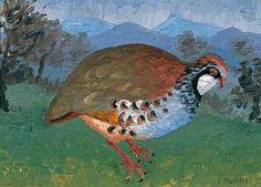 artistsanimals:  Title: French partridgeArtist: Cedric Lockwood MorrisDate: 1934Medium: Oil on panelSize: 8.9 x 12.2 cmSource: Pallant House Gallery