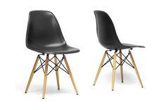 Baxton Studio Azzo Black Plastic Mid-Century Modern Shell Chair | Living Room Furniture | Interior Express