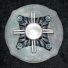 Theodor Fahrner brooch, hammered silver with blister pearl and enamel