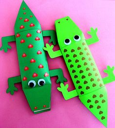 """A cute idea for an """"Enormous Crocodile"""" project.  The mouth area opens to reveal a message that your students can write about """"The Enormous Crocodile"""" by Roald Dahl.  These 3 dimensional crocodile projects would make an eye catching Roald Dahl bulletin board display."""