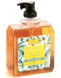 Idea Toscana, Prima Spremitura Body Soap Dispenser 500 ml. With Organic Toscano PGI Extra Virgin Olive Oil. Very smooth and creamy its moisturizing and emollient action is ideal also for sensitive skin.