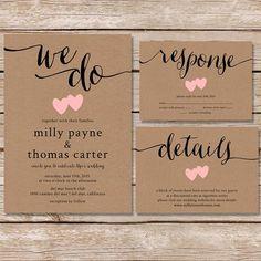 Rustikale Hochzeitseinladung / Kraft Papier Hochzeit Von Paperhive.  Einladungskarten ...
