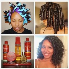 http://www.shorthaircutsforblackwomen.com/natural_hair-products/ roller set  1⃣ Started on co-washed hair after using  creme of nature Purelicious Co-Wash 2⃣ Applied the Argan Buttermilk Leave-In Hair Milk  3⃣ Sectioned off small pieces of hair (about an inch and a half) and applied the Style & Shine Foaming Mousse then brushed out my curl pattern and installed the blue rollers from @cwkgirls making sure I laid the hair as smooth as possible on the rollers to get a perfect curl…